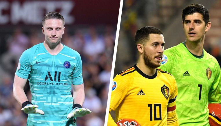 Links Marcin Bulka, rechts Hazard en Courtois.
