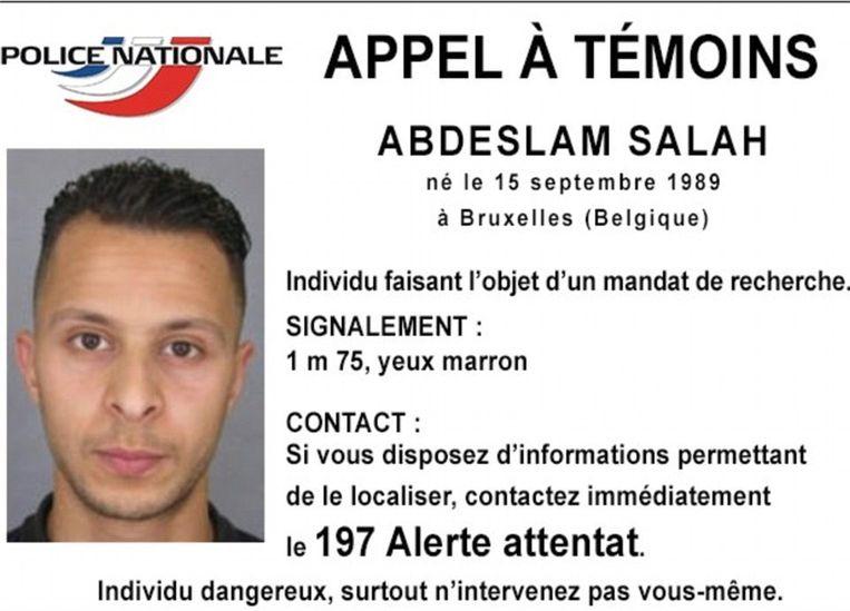 Het Franse opsporingsbericht van Salah Abdeslam. Beeld Police Nationale