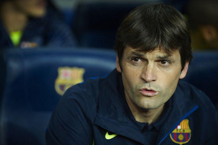 Tito Vilanova volgt Guardiola op als coach van Barça. Beeld GETTY