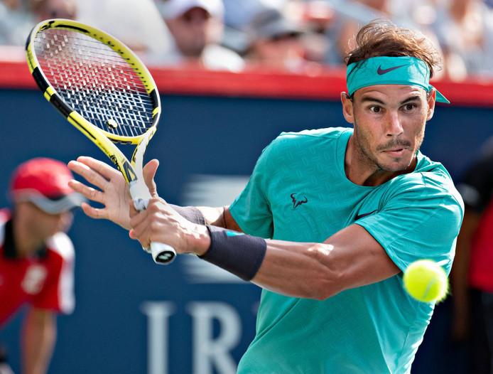 Rafael Nadal tijdens de finale om de Rogers Cup.