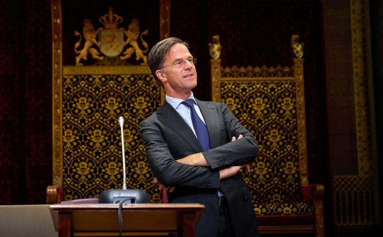 DEN HAAG - Demissionair Premier Mark Rutte tijdens het debat in de Tweede Kamer over de ontwikkelingen rondom het coronavirus. Beeld Phil Nijhuis/ANP