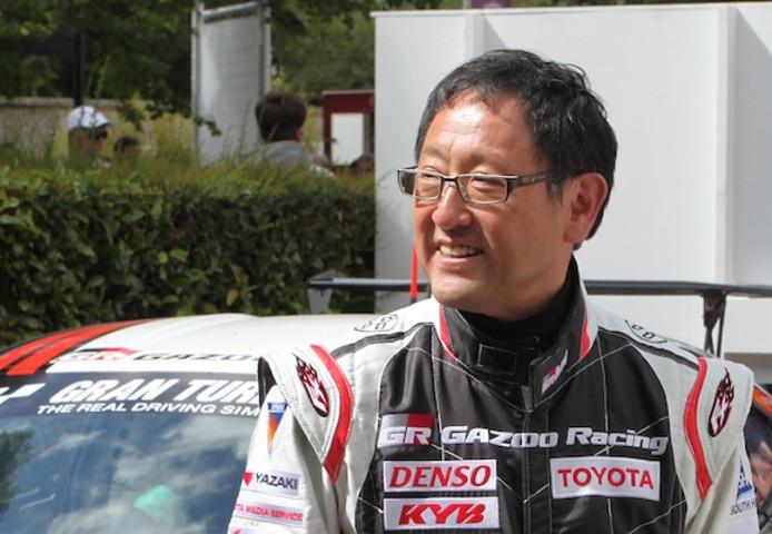 Toyoda tijdens het Goodwood Festival of Speed