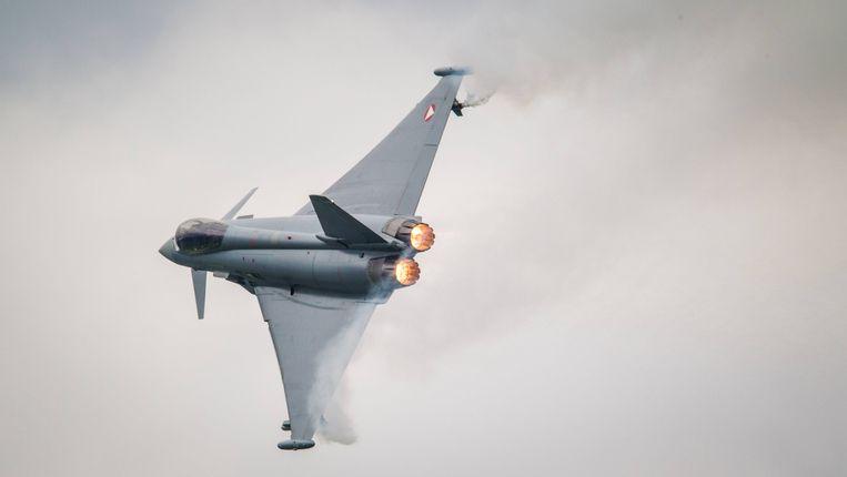 De Eurofighter Typhoon. Het bedrijf belooft cyberbeveiliging voor de telecomsector in België, als ze het contract binnenhalen. Beeld BELGAIMAGE