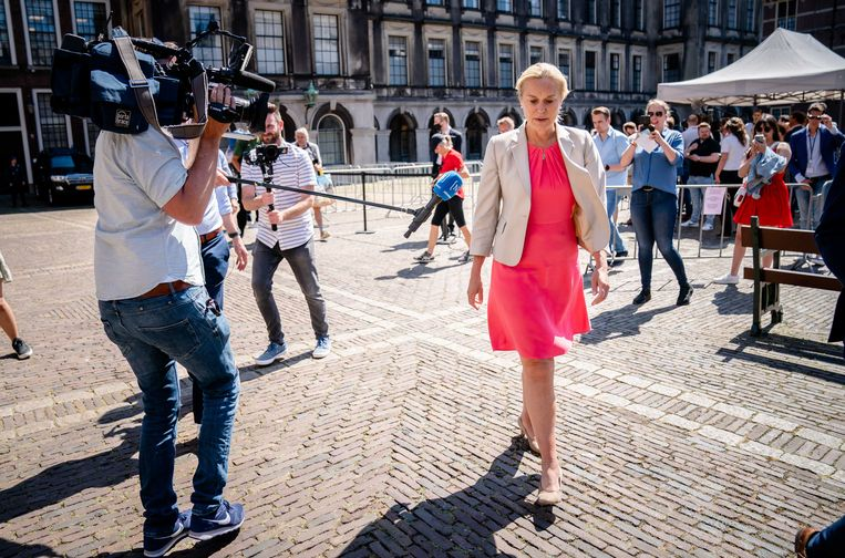 Partijleider Sigrid Kaag (D66) keert terug van besprekingen met informateur Mariëtte Hamer, die haar donderdag had uitgenodigd voor een duo-geprek met partijleider Gert-Jan Segers van de ChristenUnie.  Beeld ANP