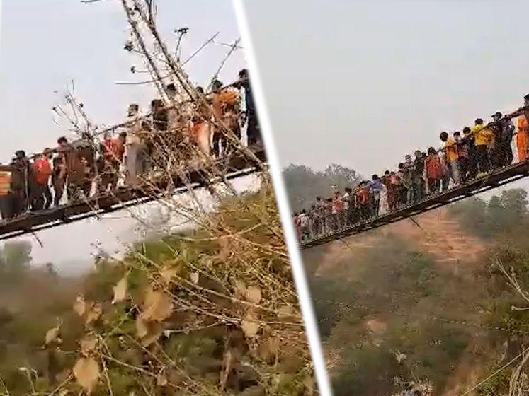 Jongeren schudden brug heen en weer, maar dat is niet naar de zin van de andere honderden mensen