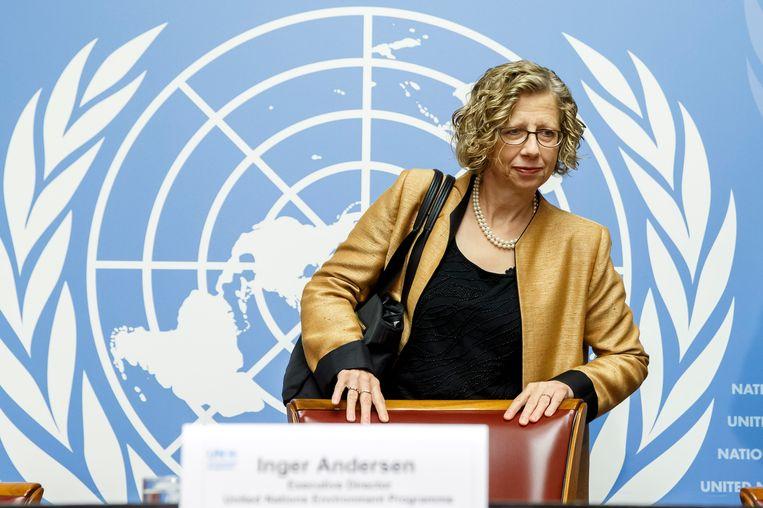 Inger Andersen, directeur van het VN-milieuprogramma, roept op tot een enorme vermindering van uitstoot. Beeld AP