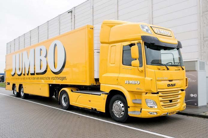 De eerste volledig elektrische truck van Jumbo die in de omgeving van Veghel gaat rijden.