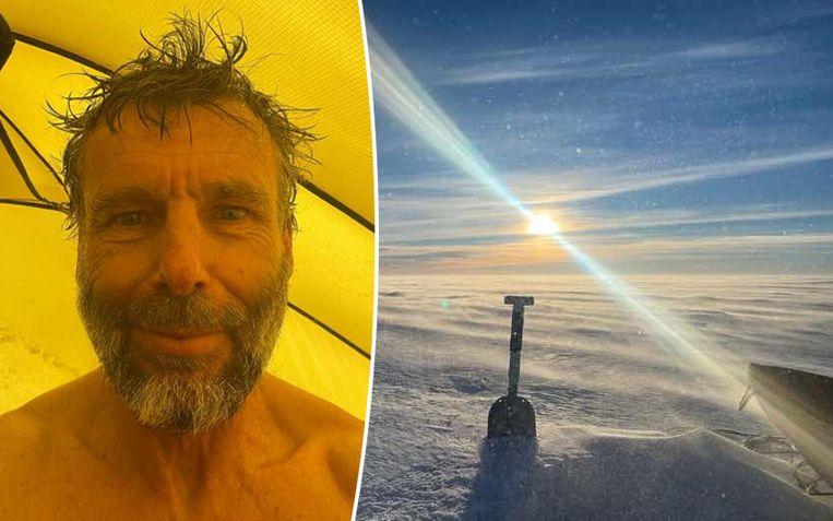 De laatste foto die Dixie Dansercoer van zichzelf postte op zijn blog. Rechts het ongelofelijke uitzicht tijdens de expeditie op Groenland. Beeld RV