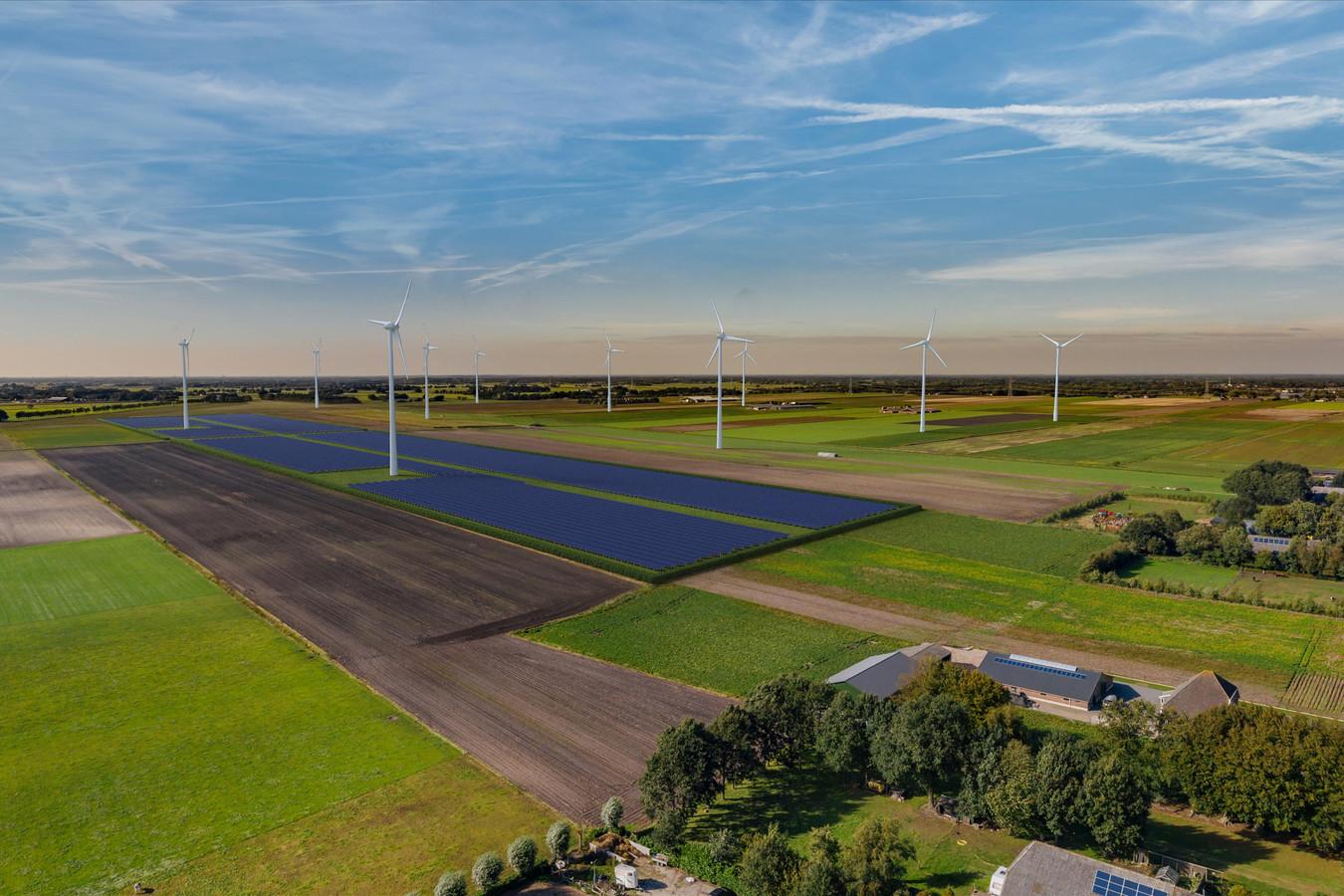 Raedthuys wil een zonnepark realiseren onder de twee meest zuidelijk gelegen windturbines in windpark De Veenwieken, gelegen tussen de Driehoekweg, Dwarsweg en Schapendijk ten zuiden van Dedemsvaart. Op deze visualisering wordt het zonnepark belicht vanaf de Driehoekweg, vanuit een hoger perspectief.