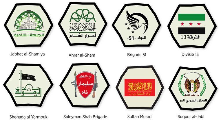 Logo's van Syrische rebellengroepen Beeld Trouw