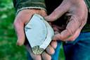 Ook is er een stuk van een schoteltje gevonden met op de onderkant een adelaar en hakenkruis.