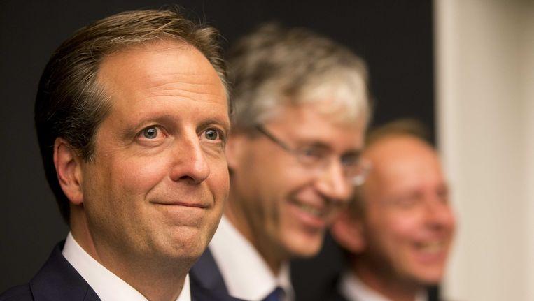 D66-leider Alexander Pechtold. Achter hem Arie Slob (CU) en Kees van der Staaij (SGP). Beeld ANP