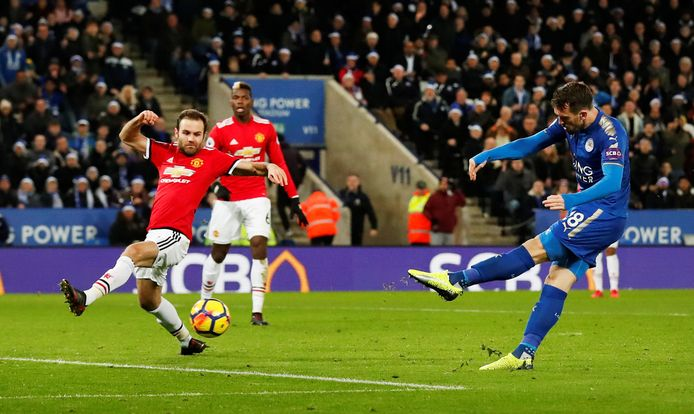 """Soccer Football - Premier League - Leicester City vs Manchester United - King Power Stadium, Leicester, Britain - December 23, 2017   Leicester City's Christian Fuchs shoots at goal   Action Images via Reuters/Andrew Boyers    EDITORIAL USE ONLY. No use with unauthorized audio, video, data, fixture lists, club/league logos or """"live"""" services. Online in-match use limited to 75 images, no video emulation. No use in betting, games or single club/league/player publications.  Please contact your account representative for further details."""
