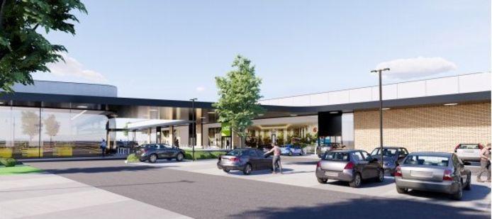 Enkele conceptbeelden van hoe het winkelpark in Veurne er kan uitzien.