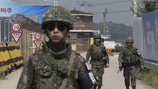 Zuid-Koreaanse militairen nabij de grens met Noord-Korea.