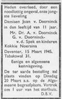 Overlijdensadvertentie uit het Deventer Dagblad in 1945