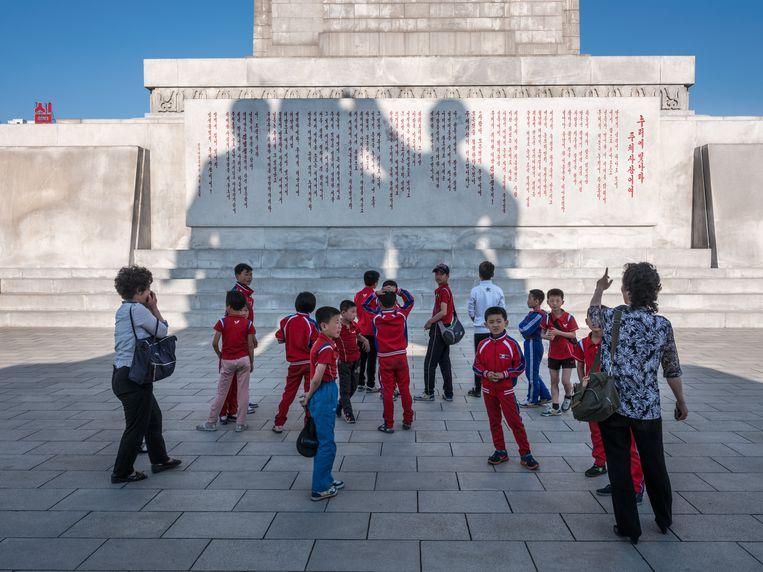 Beeld gewijd aan de 'Juche', de Noord-Koreaanse staatsideologie, in Pyongyang. Beeld rv