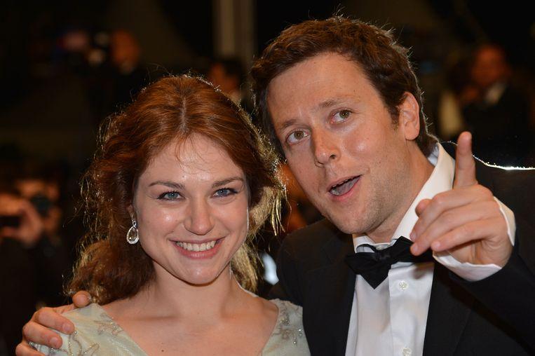 Actrice Emilie Dequenne en Joachim Lafosse in 2012 in Cannes, voor zijn film 'A perdre la raison'. De Belgische regisseur is opnieuw geselecteerd. Beeld AFP