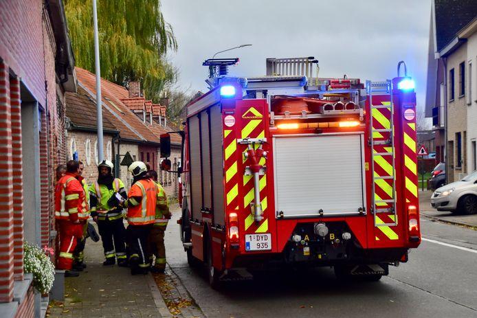 De brandweer rukte uit naar de Wittemolenstraat in Moorsele.