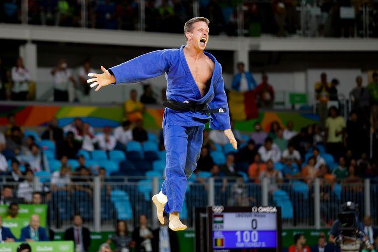 Rio 2016, zijn moment de gloire. Van Tichelt wint brons in de klasse tot 73 kilogram. Beeld AP