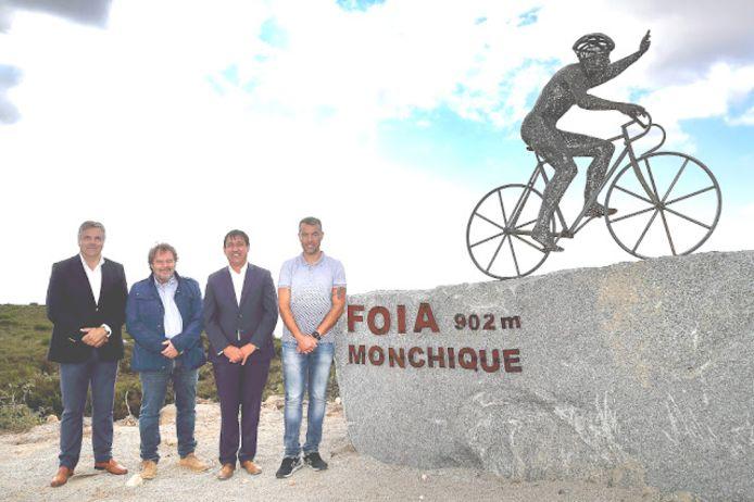 La statue d'Evenepoel au Portugal