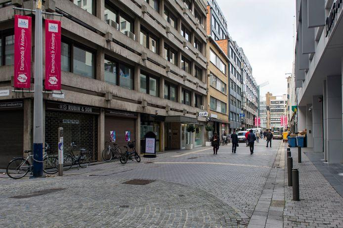 De Hoveniersstraat, het hart van de Antwerpse diamantwijk.