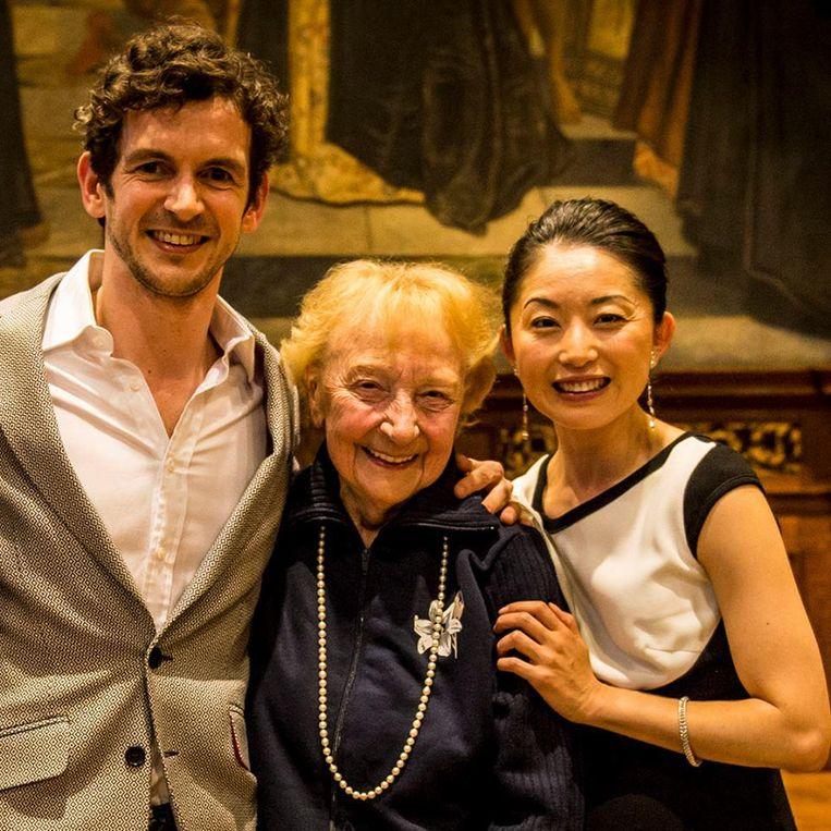 Jos Brabants in het Stadhuis in 2014 op de viering van het 20-jarige partnerschap van Wim Vanlessen en Aki Saito bij het Ballet van Vlaanderen.