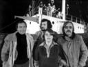 Eerste uitzending van VOO (Veronica Omroep Organisatie) in 1976, v.l.n.r. Rob Out, Ad Bouma, Tineke de Nooij en Lex Harding.