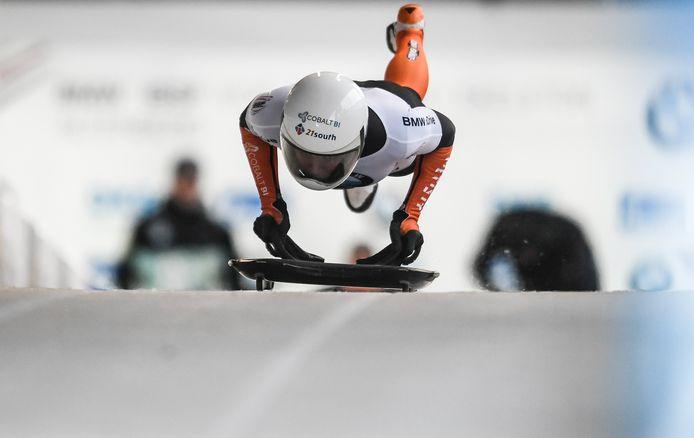 Kimberley Bos in actie tijdens de wereldbekerwedstrijd dit jaar in het Duitse Altenberg.