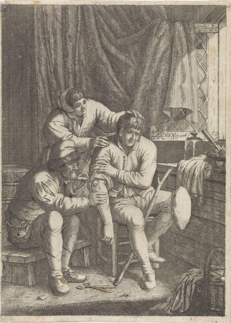 Chirurgijn brandt een wond uit, Justus van den Nijpoort, 1635 - 1692 Beeld Rijksmuseum/Rijksstudio