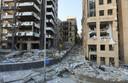 Een deel van de binnenstad van Beiroet, waar alles is verwoest door de explosie.