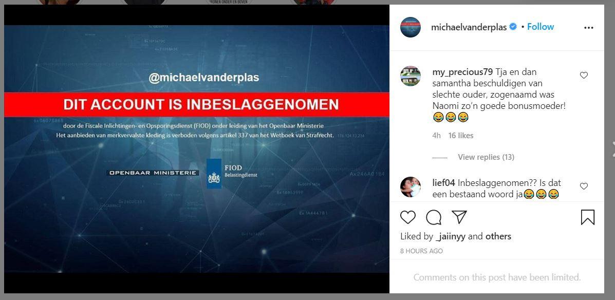 Printscreen van het Instagram-account van Michael van der Plas op 10/09/2020.