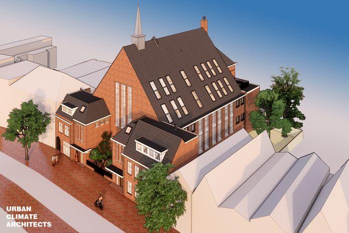 Zo moet de Smedenstraatkerk eruit gaan uitzien, verbouwd tot complex met huurappartementen. Dat is dan wel pas klaar in 2022, met vertraging.