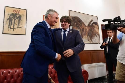 Carles Puigdemont et Mario Conoci, le maire d'Alghero
