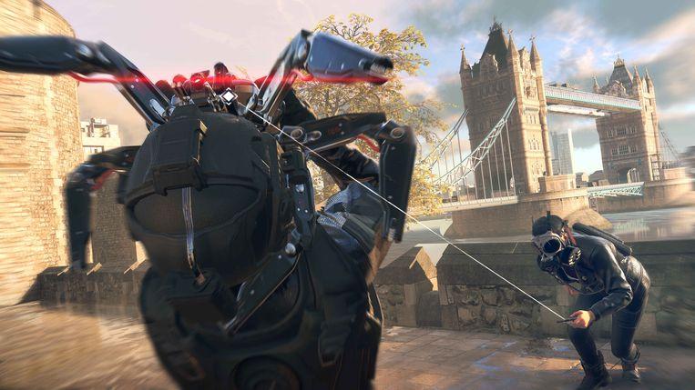 Elektronische oorlogsvoering met de Tower Bridge op de achtergrond. Beeld Ubisoft