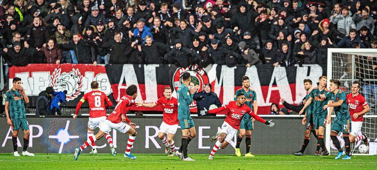 Myron Boadu (AZ) scoorde in december vlak voor tijd tegen Ajax de 1-0.  Beeld Guus Dubbelman / de Volkskrant