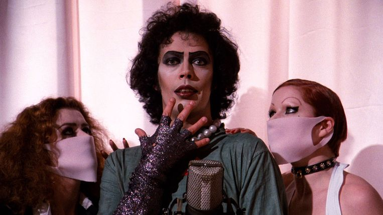 Patricia Quinn, Tim Curry en Nell Campbell schitteren in The Rocky Horror Picture Show.   Beeld Alamy Stock Photo