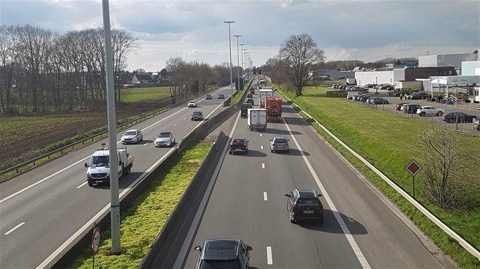Door de werken aan de brug in Oevel ontstaan er regelmatig files op de autosnelweg.