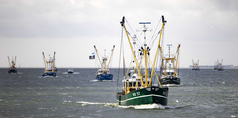 IJsselmeerkotters, garnalenkotters en Noordzeekotters varen in protest langs de Afsluitdijk om samen te komen bij Breezanddijk. De vissers protesteren tegen windmolens die beslag leggen op hun viswateren.  Beeld ANP