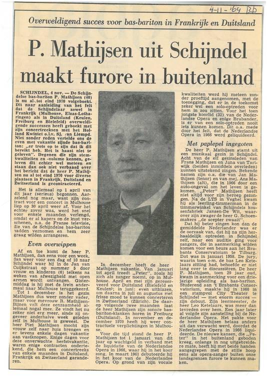 Artikel over Piet Mathijsen uit Schijndel uit november 1969 uit archief van het Brabants Historisch Informatie Centrum (BHIC).
