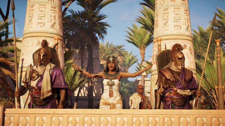 Beeld uit de verhaallijn van 'Assassin's Creed: Origins', waarin Cleopatra een belangrijke rol speelt. Beeld Ubisoft