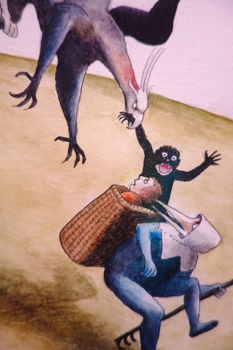 Detail, afbeelding uit het boek Bosch, aquarel. Beeld Thé Tjong-Khing