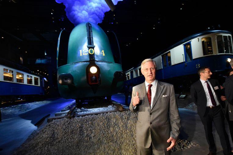 Koning Filip bezoekt het nieuwe museum Train World in Schaarbeek Beeld PHOTO_NEWS