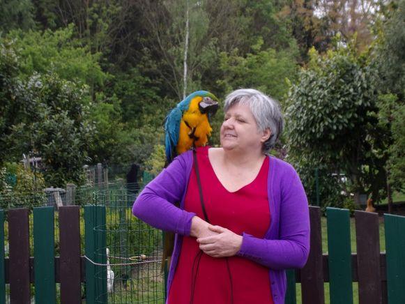 Marcs echtgenote Paola met papegaai Jacko bij hun thuis in Schellebelle.