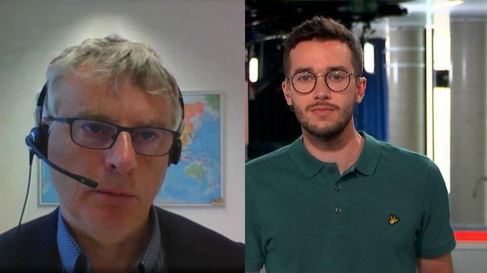 Viroloog Johan Neyts en HLN LIVE-anker Stijn Defoirdt.