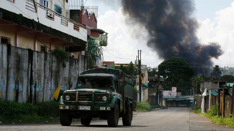 Hevige gevechten zijn uitbroken in Marawi.  Beeld EPA