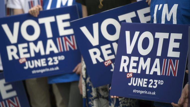 Tegenstanders van de Brexit tijdens een speech van premier David Cameron Beeld epa
