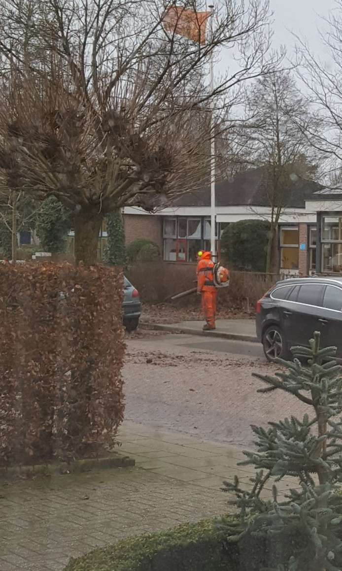 Een bladblazer in Utrechtse Heuvelrug laat zich niet uit het veld slaan door de storm.
