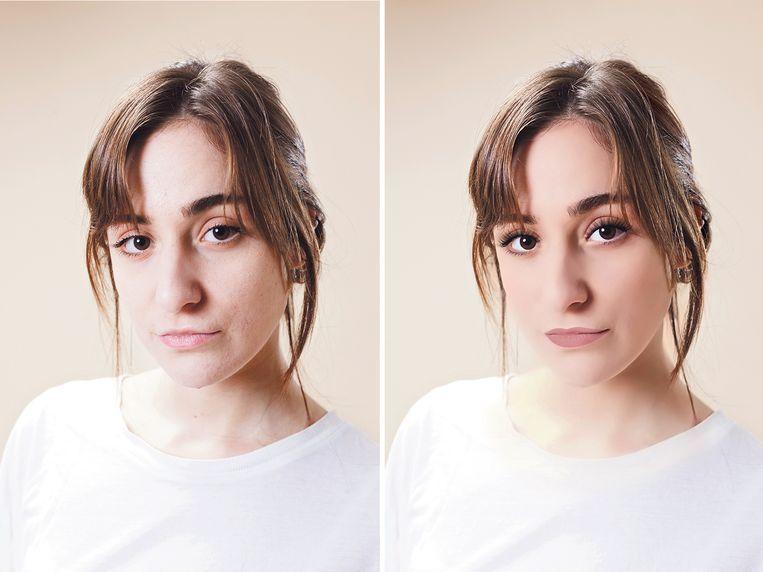 Merve Bakirhan, links op een onbewerkte foto. De rechterfoto is door onze vormgever op haar telefoon bewerkt met de populaire filter-app Perfect365. Hierdoor krijgt het gezicht automatisch make-up en een virtuele facelift. Beeld