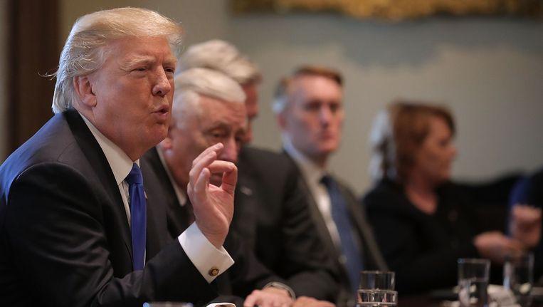 President Trump tijdens de bijeenkomst in het Witte Huis. Beeld getty